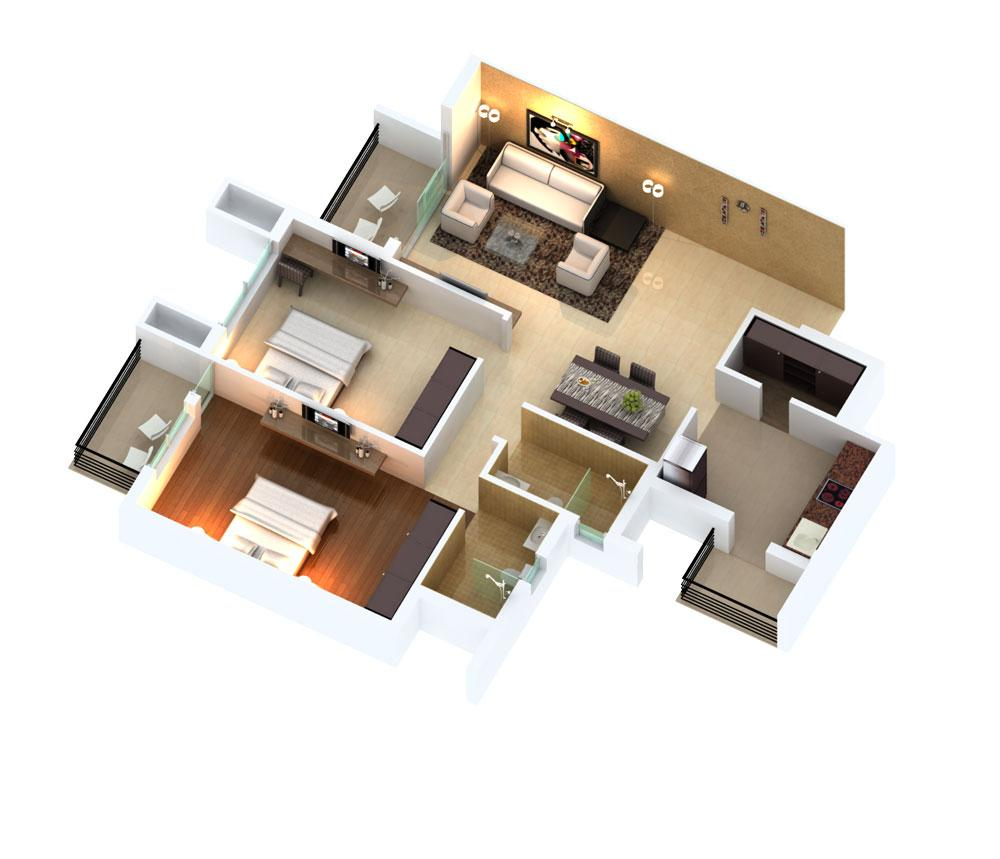 2 BHK And 3 BHK Flats Layout Plan